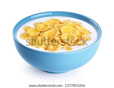 Bowl with cornflakes, milk, yogurt isolated on white background. With clipping path. #1377855266