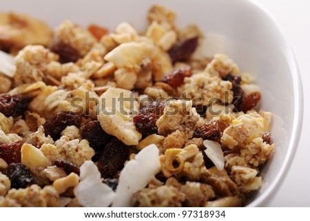Bowl with fresh muesli