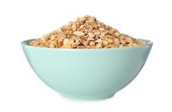 Bowl with fresh muesli on white background