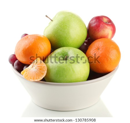 Bowl with fruits, isolated on white