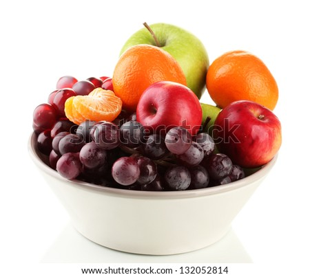 Bowl with fruits, isolated on white Stock photo ©