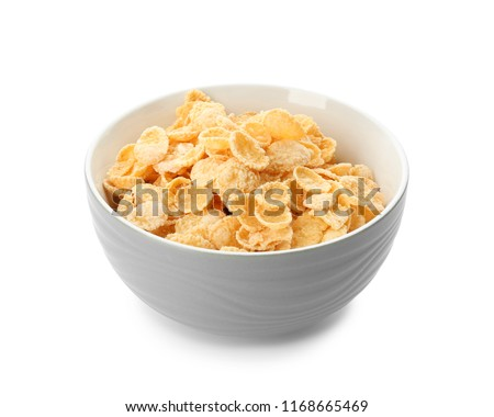 Bowl with healthy cornflakes on white background #1168665469
