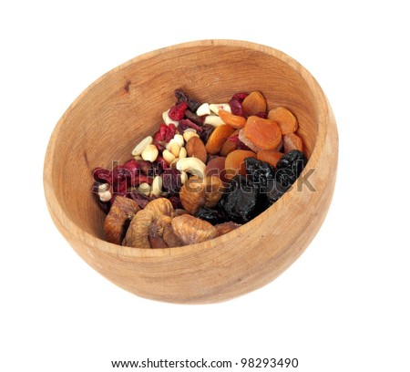 Bowl with mixed dried fruits