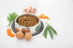Bowl with pet food and natural products on white background