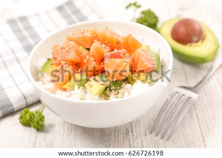 bowl with rice,avocado and salmon