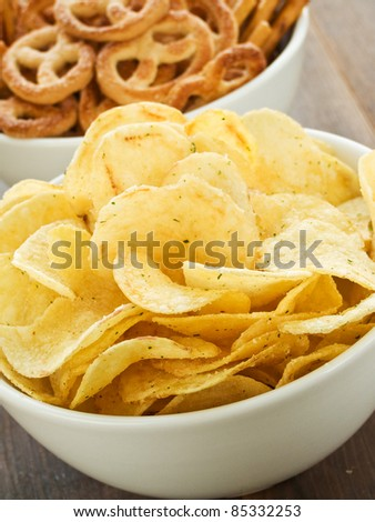 Bowl with salted potato chips. Shallow dof.