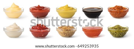 Shutterstock Bowl with sauce set isolated on white background