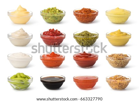 Bowl with sauce set  isolated on white background #663327790