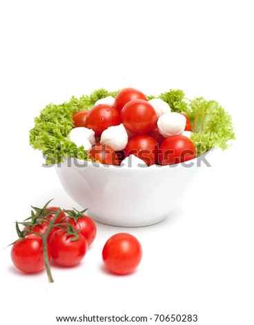 bowl with tomatoes and mozzarella