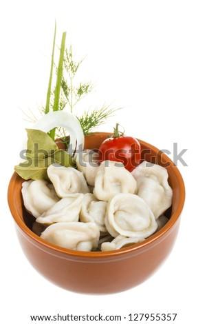 Bowl with traditional russian dish - pelmeni (dumplings)