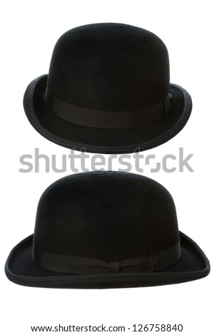 bowler or derby hat front and side view isolated on a white background