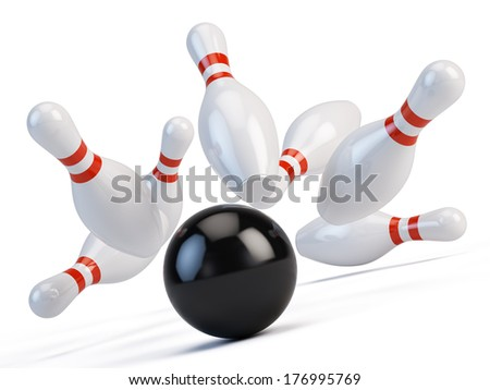 Bowling ball  and scattered skittle