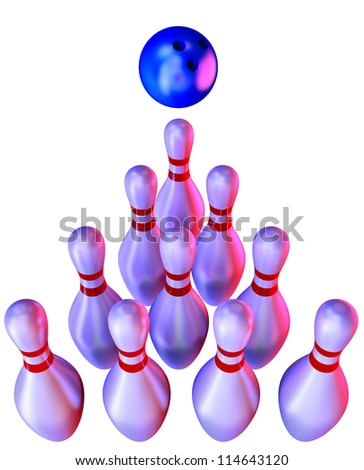 bowling ball and skittles on white background