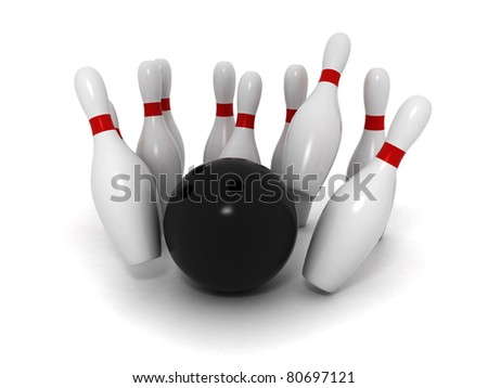 Bowling ball crashing bowling pins isolated on white background