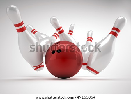 Bowling ball crashing into the pins - 3d render illustration