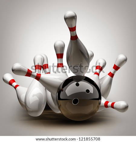Bowling Ball crashing into the pins. High resolution 3d
