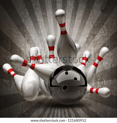Bowling Ball crashing into the pins on vintage background. High resolution 3d