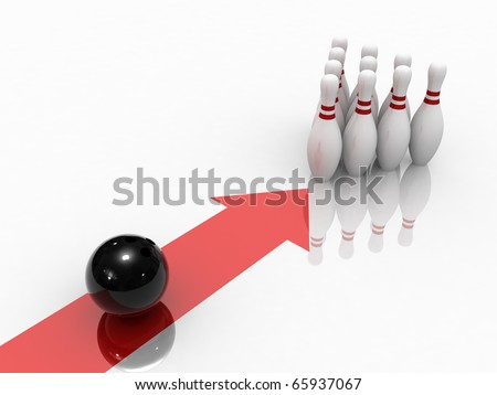 Bowling ball moving precisely to the target