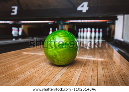 Bowling ball on bowling alley