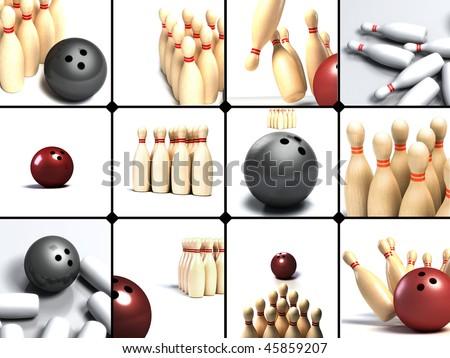 Bowling ball rolling towards pins