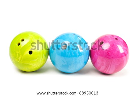 Bowling Ball three different colors on a white background