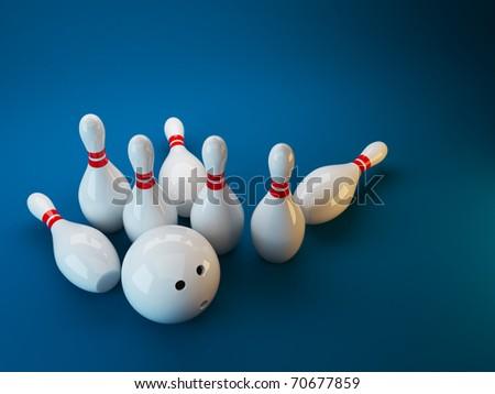 Bowling. 3D illustration on dark blue  background. Game
