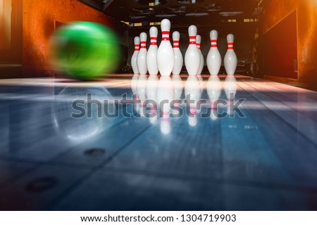 bowling pins and balls. copy space.