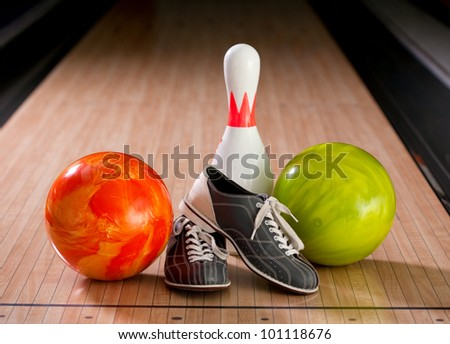 Bowling pins, balls and shoes