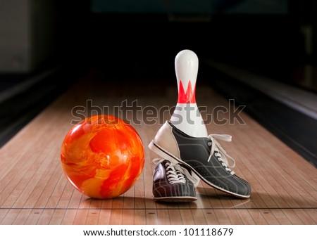 Bowling pins, balls and shoes