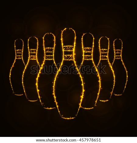 Bowling Pins Illustration Icon, Gold Color Lights Silhouette on Dark Background. Glowing Lines and Points