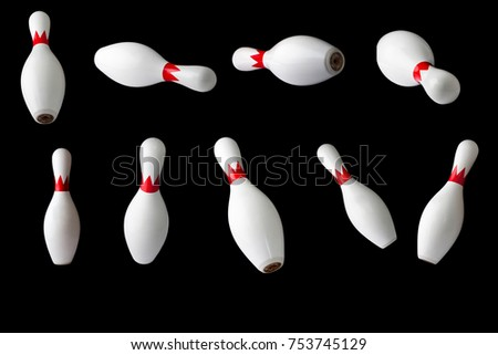 bowling pins isolated on a black background, set of nine pins bowling