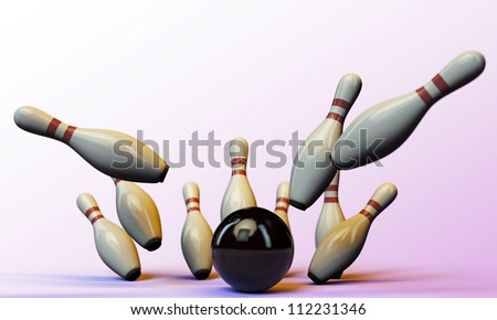 bowling pins isolated on pink background