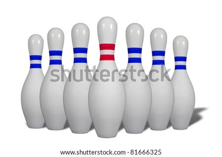 Bowling pins with a colored stripes isolated on a white background