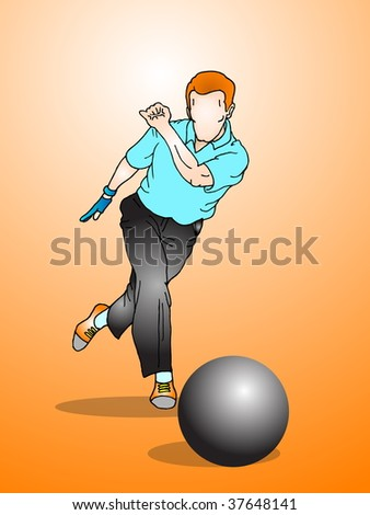 bowling player faceless in action- Isolated on an orange background