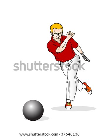 bowling player in action- Isolated on a white background