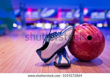 Bowling shoes and ball for bowling game,relaxing concept.