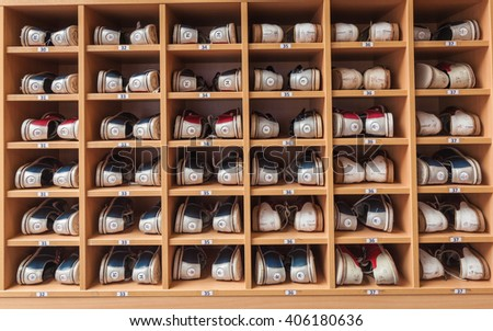 Bowling Shoes In A Shoe Cabinet Sorted By Size Stock Photo ...