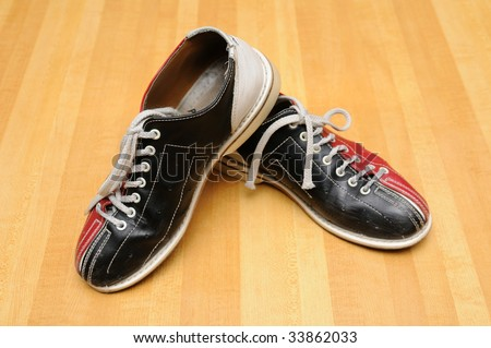 Bowling shoes on the lane