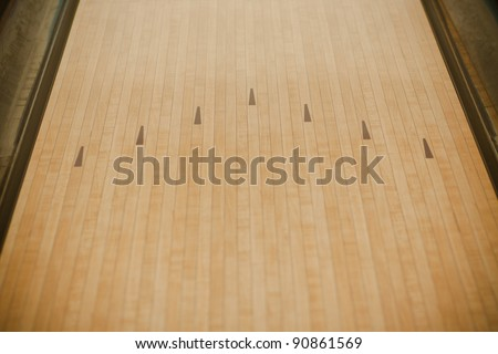 Bowling street wooden floor - stock photo