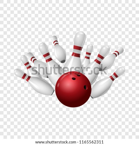 Bowling strike icon. Realistic illustration of bowling strike icon for on transparent background
