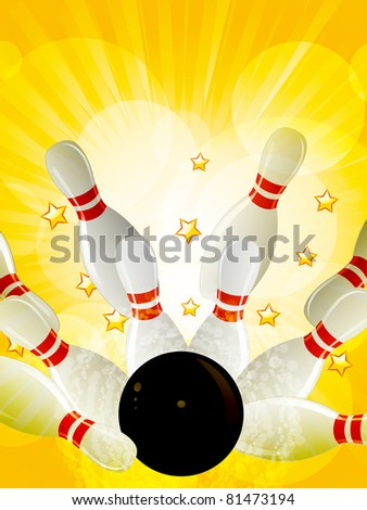 Bowling strike on a yellow star burst background with gold stars