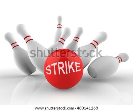 Bowling Strike Word Shows Ten Pin 3d Rendering