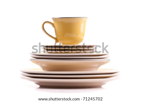 Bowls and Plates Stack with Cup on Top