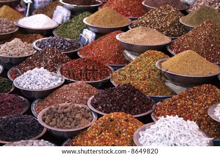 Bowls of pulses and spices on a market stall in Ahmadabad, Gujarat, India