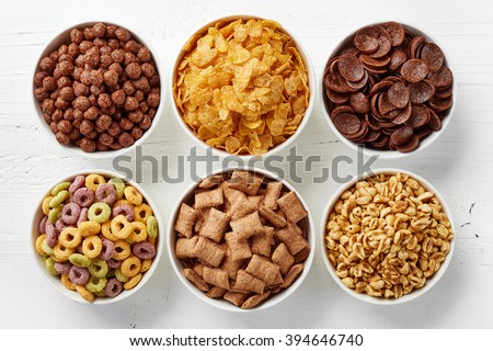 Shutterstock Bowls of various cereals from top view