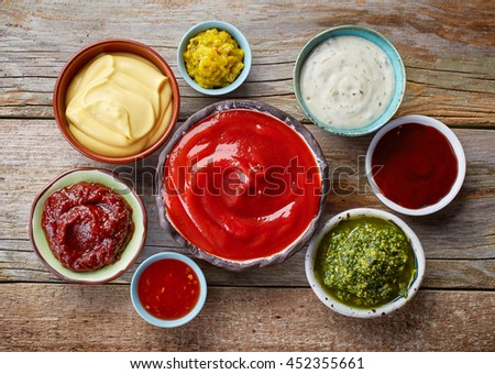 Shutterstock bowls of various dip sauces, top view