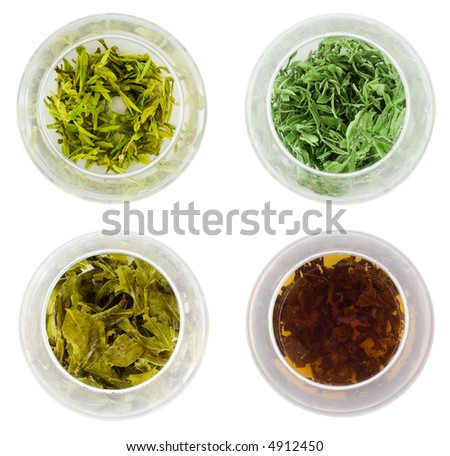 Bowls of various green tea