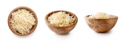 bowls with grated mozzarella cheese isolated on white background