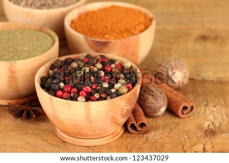bowls with spices, on wooden background