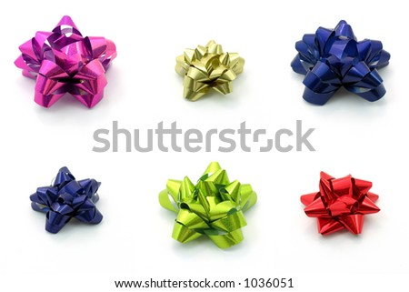 Bows in different color, isolated white